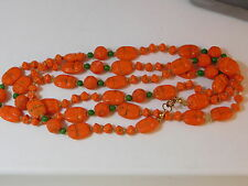 Vintage Max Neiger Czech Orange Glass Bead Necklace Egyptian Scarab 10g 38