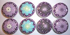 8 Purple Plum Dandy Flower Wooden Dresser Bedding Cordinate Drawer Knobs Pulls