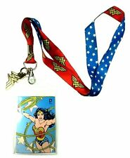 DC COMICS WONDER WOMAN GOLD METAL CHARM LANYARD BADGE ID HOLDER KEYCHAIN RETRO
