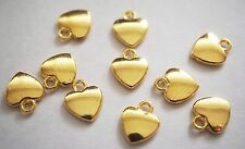 10 Metal Gold Plated Flat Heart Charms Pendants - 12mm x 10mm