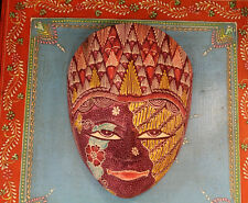 Wooden Hand Carved Painted Batik Javanese Tribal Mask Wax-Resisting Fabric