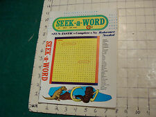 Unused High Grade: SEEK-A-WORD march 1974: fun tastic, complete UNUSED