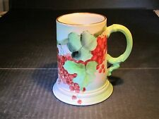 Old Ornate JPL Limoges Hand Painted Porcelain Mug Cherries On Tree Branches