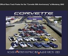 2002 Corvette 50th Anniv Monterey Historic Track Line Up Event Car Poster Rare!