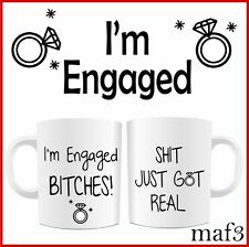 Funny I'm Engaged Set of 2 Mugs Cup Wedding Engagement Valentines Gifts Present