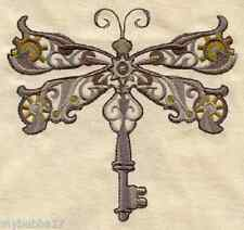 DRAGONFLY STEAMPUNK SET OF 2 HAND TOWEL EMBROIDERED UNIQUE RARE FIND by laura