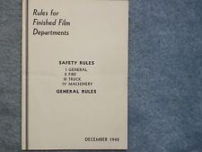 1942 DECEMBER  RULES FOR FINISHED FILM DEPARTMENTS – KODAK – SAFETY RULES – GENE