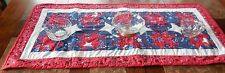 New handmade, quilted PATRIOTIC 4th of July table runner RED WHITE BLUE 41x20