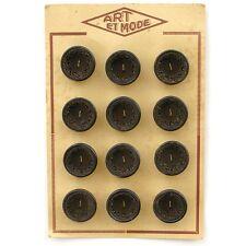 Carte de 12 gros boutons anciens Marron et intérieur tissu marron - ART MODE