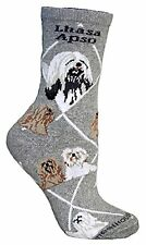 Lhasa Apso Dog Breed Gray Lightweight Stretch Cotton Adult Socks