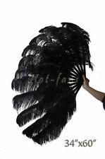 "Large 2 layers 34""x 60"" Black Ostrich Feather fan Burlesque with gift box"