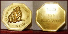 BRONZE BEST WISHES FRENCH MEDAL TOKEN LESSONS APES MONKEYS