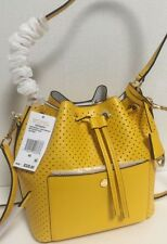 NWT MICHAEL KORS GREENWICH MEDIUM LEATHER PERFORATED BUCKET BAG SUNFLOWER YELLOW