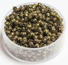 3 MM Vintage Brass Round Corrugated Hollow Beads  Pkg. 50 p.  , USA