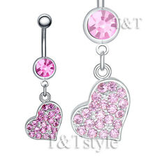TTstyle Multi Crystal Heart Dangle Belly Button Ring Choose Colour