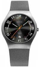 Mens Bering Gray Stainless Mesh Band Titanium Case Sapphire Date Watch 11937-007