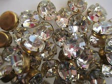 36 Swarovski 12x10mm Oval Crystal Rhinestone set in 4-Prong Brass Settings
