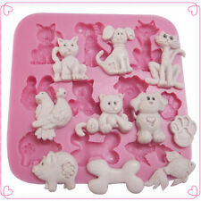 DIY Silicone Cats Dogs Animals Chocolate Cake Decorating Sugarcraft Baking Molds