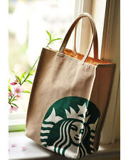 Starbucks Coffee Canvas Shopping Lunch Tote Bag Brown with Lining NEW