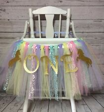 Unicorn High Chair Tutu, Unicorn First Birthday, Unicorn Smash Cake Decorations