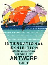 ADVERT COLONIAL MARITIME FLEMISH ANTWERP EXHIBITION SUNSET GRAPHIC POSTER LV117