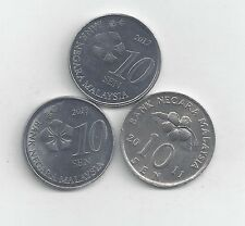 3 DIFFERENT 10 SEN COINS from MALAYSIA (2011, 2012 & 2013)