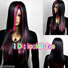 New Women's Long Straight Black Red Pink Mix Costume Party Full Cosplay Hair Wig
