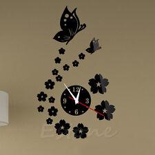 Modern 3D DIY Mirror Wall Clock Butterfly Flower Sticker Home Living Room Decor