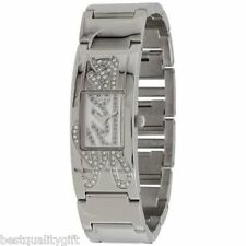 NEW GUESS SILVER TONE S/STEEL BRACELET+CRYSTAL LOGO DIAL WOMENS WATCH-U10605L2