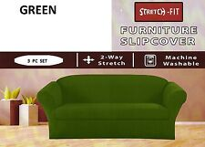 STRETCH FIT 3 Pcs Furniture Slipcover Set,Sofa/Couch+Loveseat+Chair Covers GREEN