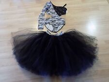 Adult Size Large Creations by Cicci Black White Dance Leotard & Full Tutu Skirt