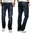 Rock Creek Herren Designer Denim Jeans HOSE Dunkblau Used Look RC-2066 NEU