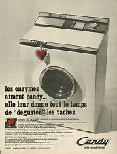 "Publicité  Advertising 1968  Lave linge Machine à laver CANDY le bouton ""BIO"""