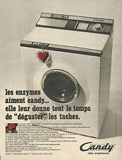 """Publicité  Advertising 1968  Lave linge Machine à laver CANDY le bouton """"BIO"""""""