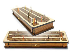 Continuous Cribbage Board Inlaid Teak Wood 4 Tracks with Sliding Lids + Drawer