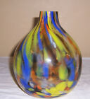 ~~ MURANO GLASS VASE ~~ CLEAR ROUND VASE W/ DOTS AND SWIRLS OF RED YELLOW & BLUE