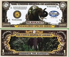 Elephant Million Dollar Novelty Collector Bill Note