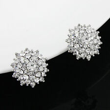LOVELY BRAND NEW 18K WHITE GOLD PLATED GENUINE AUSTRIAN CRYSTAL CLIP-ON EARRINGS