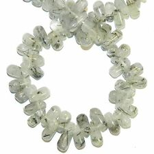 NG2949f Green Tourmalinated Quartz Top-Drilled Teardrop Briolette Gemstone Beads