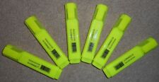 SIX Bright Dayglo Yellow Highlighter Pens 6 Bright Q-Connect Highlighters - FAST
