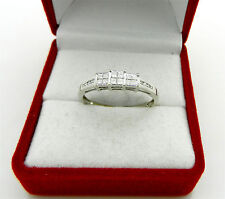 Anniversary 14k White Gold Princess Invisible Set Diamonds 0.30 tcw Ring size 7