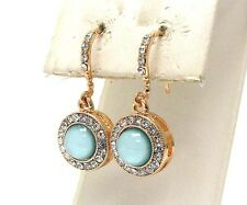 F2 Formal EARRINGS Round Blue Acrylic Gold Plating Crystal NEW