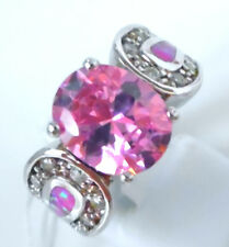"GORGEOUS PINK TOPAZ/PINK FIRE OPAL     RING UK Size ""L""  US 6"