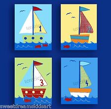 SAILBOATS BOATS KIDS NAUTICAL WALL DECOR  BABY NURSERY CHILDREN BOY ART PRINTS