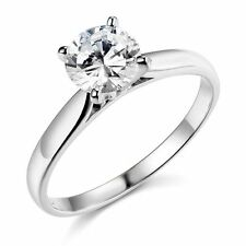 Solid 14k White Gold 1ct Solitaire Wedding Engagement Ring size 5 6 7 8 9