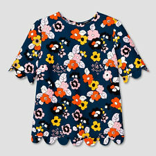 NWT Victoria Beckham For Target Women's Dark Floral Scallop Trim Top Sz XL