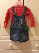 Mantaray Debenhams Baby Girl's Red/Blue Dungaree Outfit Age 18-24 Months