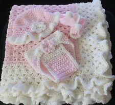 Pink / White Ruffle Hand Crochet Baby Blanket w/ lots of extras -  Needy Family