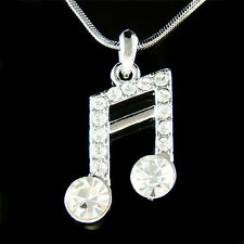 w Swarovski Crystal ~Semiquaver 16th Music note~ Piano Musical Pendant Necklace