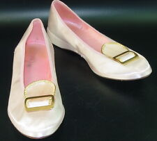 Vtg Pale Pink Satin Slippers Gold Buckle Mid Mod Glamour Pin Up Lucy 7.5 M PUG